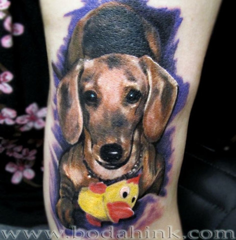 Full color dachshund tattoo with ducky