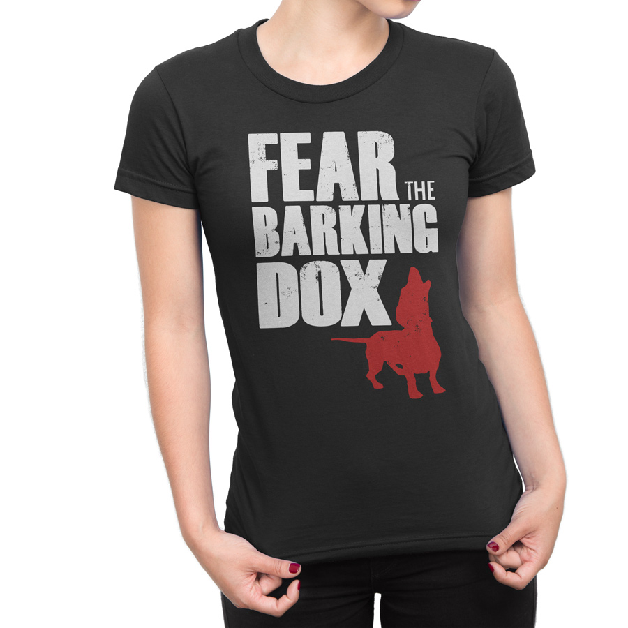 fear the barking dox women 39 s t shirt doxie pop. Black Bedroom Furniture Sets. Home Design Ideas