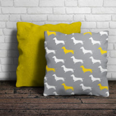 Gray and yellow dachshund pillow