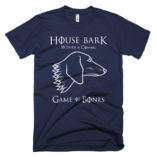 Blue House Bark Wiener is Coming Game of Bones Dachshund T shirt
