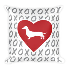 X's and O's Red Heart Pillow