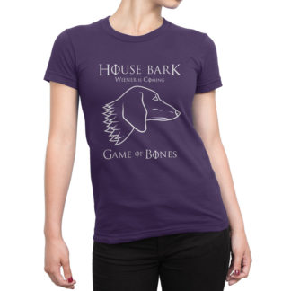 Purple Game of Bones House Bark Wiener is Coming Dachshund T shirt